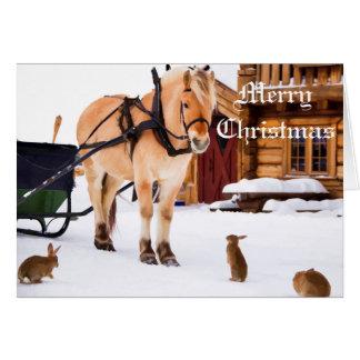 Farm animal talk horse and rabbits card