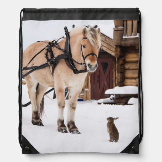 Farm animal talk horse and rabbits drawstring backpack