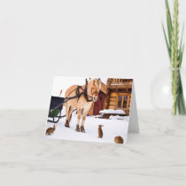 Farm animal talk horse and rabbits holiday card