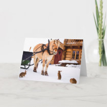 Farm animal talk horse and rabbits holiday card