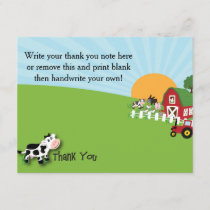 Farm Animal Thank You Card