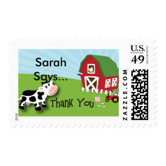 Farm Animal Thank You Postage Stamp