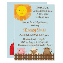 Farm Animal Themed Baby Shower Invite