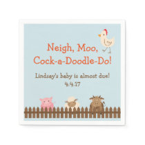 Farm Animal Themed Napkins- Farm Baby Shower Napkin