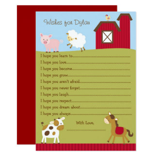 Farm Animal Wishes for Baby Card