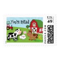 Farm Animal You're Invited Postage Stamp