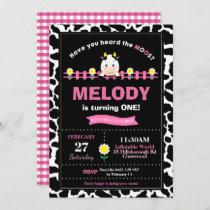Farm Animals 1st Birthday Party Girl Barnyard Pink Invitation