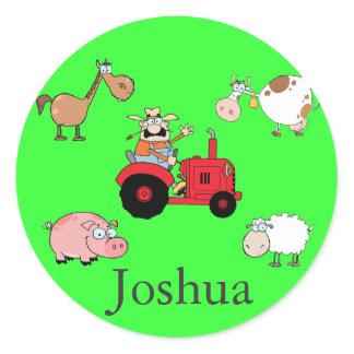 Farm animals and Tractor Classic Round Sticker