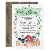 Farm Animals And Wreath Baby Shower Invitation