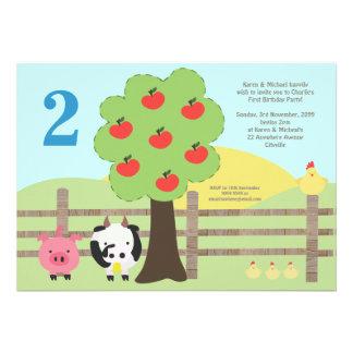 Farm Animals Apples KIDS Birthday Party Invite