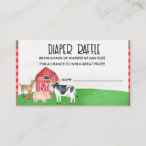 Farm Animals Baby Shower Diaper Raffle Card Insert