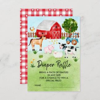 Farm Animals Baby Shower Diaper Raffle Ticket