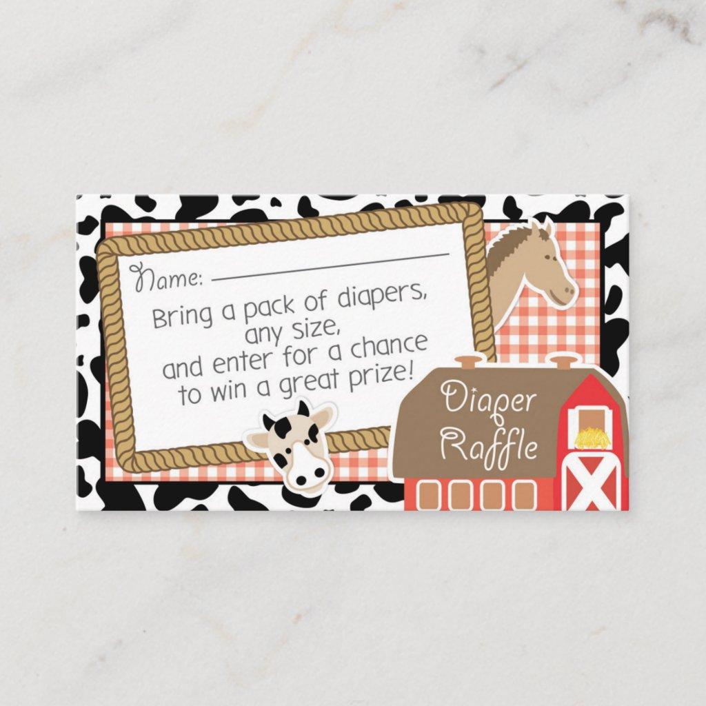 Farm Animals Baby Shower Diaper Raffle Ticket Enclosure Card