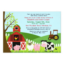 Farm Animals Baby Shower Flat Invitation
