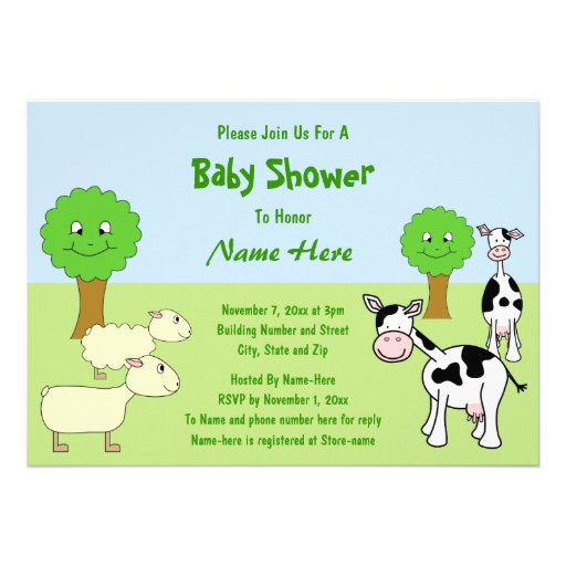 Farm Animals Baby Shower Personalized Invitations