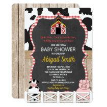 Farm animals baby shower invitation boy