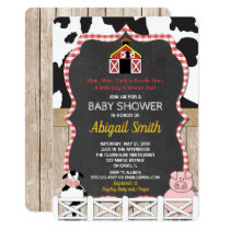 Farm animals baby shower invitation boy