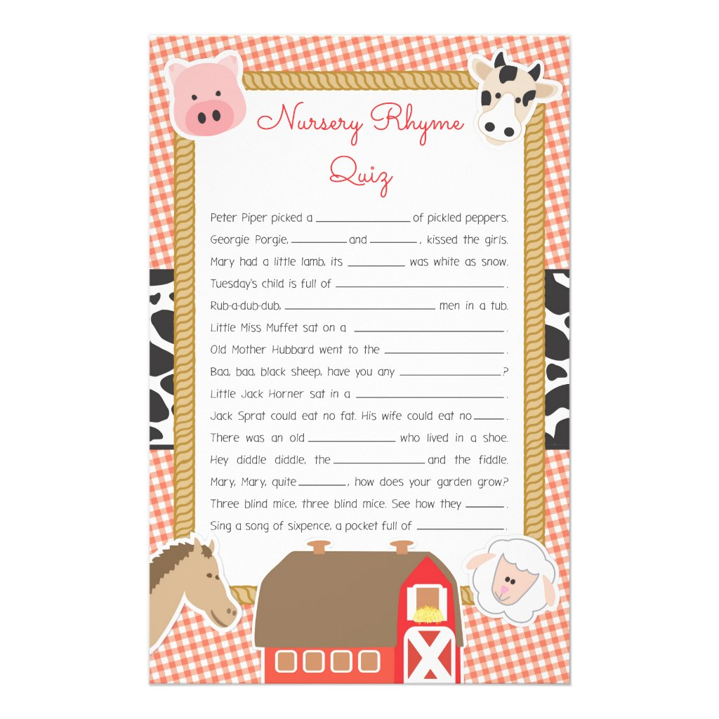 Farm Animals Baby Shower Nursery Rhyme Game Flyer