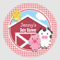 Farm Animals Baby Shower; Red & White Gingham Classic Round Sticker