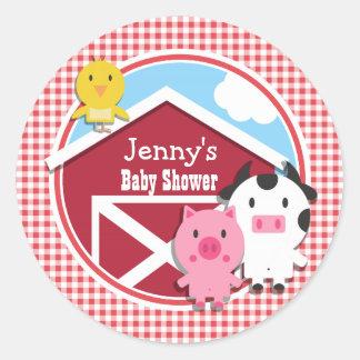 Farm Animals Baby Shower; Red & White Gingham Classic Round Sticker