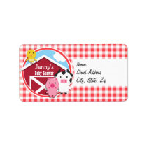 Farm Animals Baby Shower; Red & White Gingham Label