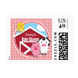 Farm Animals Baby Shower; Red & White Gingham Postage