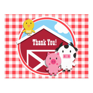 Farm Animals Baby Shower; Red & White Gingham Postcard