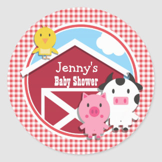 Farm Animals Baby Shower; Red & White Gingham Stickers