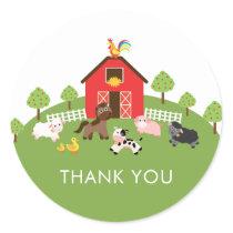 Farm Animals Baby Shower Thank You Favor Sticker