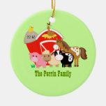 FARM ANIMALS Barn Custom Christmas Ornament