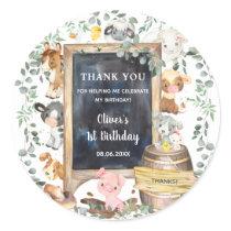 Farm Animals Barnyard 1st Birthday Baby Shower  Classic Round Sticker