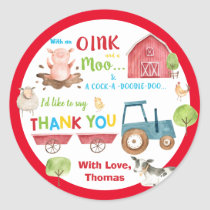 Farm Animals Barnyard 1st Birthday Thank You Favor Classic Round Sticker