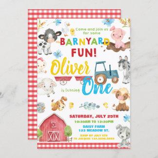 Farm Animals Barnyard 1st Birthday Turning One Inv Invitation