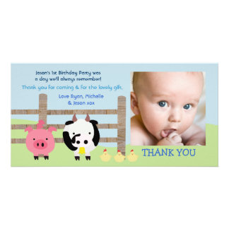 Farm Animals Barnyard Baby Thank You Photo Card