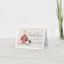 Farm Animals Barnyard Beige Baby Shower Thank You Card