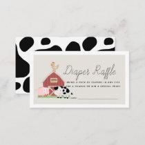 Farm Animals Barnyard Beige Diaper Raffle Ticket Enclosure Card