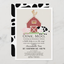 Farm Animals Barnyard Beige Drive-by Baby Shower Invitation