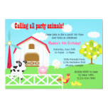 Farm Animals Barnyard Birthday Party 5x7 Paper Invitation Card