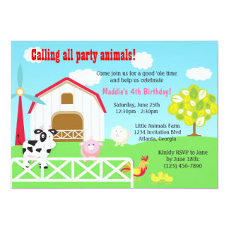 Farm Animals Barnyard Birthday Party Card