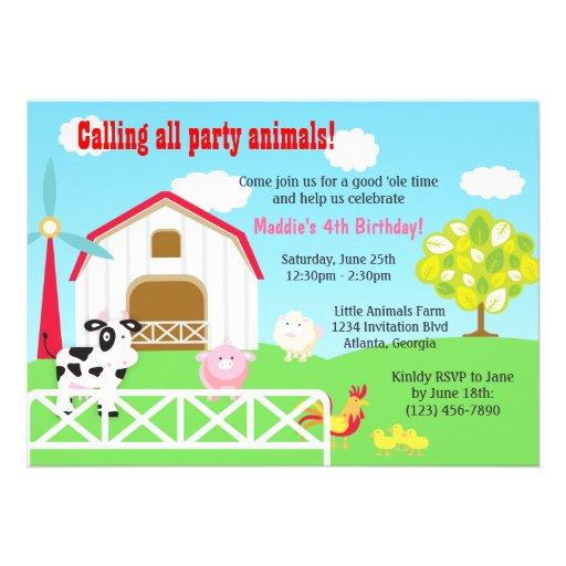 Farm Animals Barnyard Birthday Party Custom Announcement