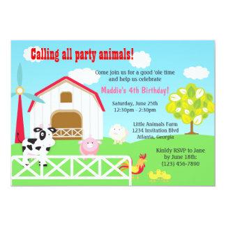 "Farm Animals Barnyard Birthday Party 5"" X 7"" Invitation Card"