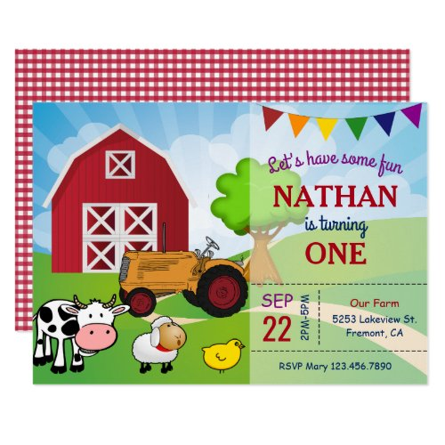 Farm Animals | Barnyard Birthday Party Invitation