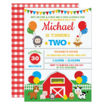 Farm Animals Barnyard Birthday Party Petting Zoo Invitation