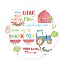 Farm Animals Barnyard Birthday Thank You Favor Classic Round Sticker