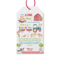 Farm Animals Barnyard Birthday Thank You Favor Gift Tags