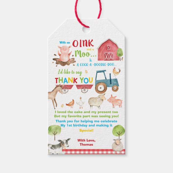 Personalized Farm stickers Birthday stickers Party favor tags Thank you tags Gift tag Cupcake topper animal tags Birthday Party tags PRECUT