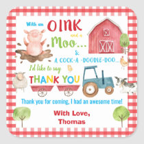 Farm Animals Barnyard Birthday Thank You Favor Square Sticker