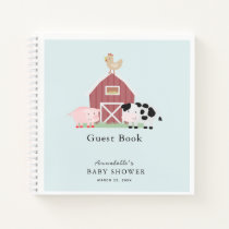 Farm Animals Barnyard Blue Baby Shower Guest Book