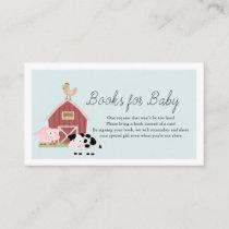 Farm Animals Barnyard Blue Books for Baby Shower Enclosure Card