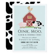 Farm Animals Barnyard Blue Boy 1st Birthday Invitation